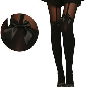 Sexy-Black-Bow-Pantyhose-Tattoo-Mock-Bow-Suspender-Sheer-Tight-Stockings-Hold-Up