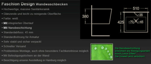 Wand Hänge Waschtisch Waschbecken mit Nano-Beschichtung für Wandmontage K9389