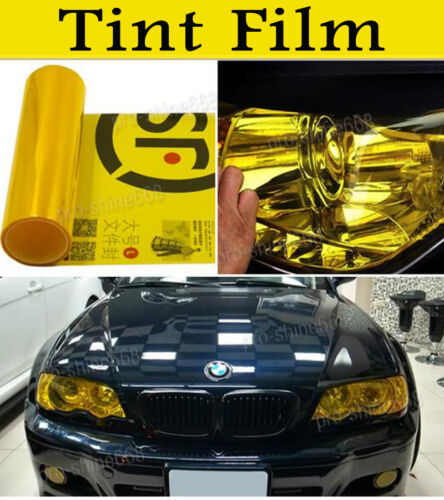 "393/"" Tint Headlight Tail Fog Lights Gloss Vinyl Wrap Film Cover Gold Fit BMW"
