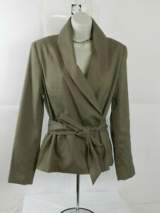New-York-and-Company-Womens-Size-10-Belted-Shawl-Neck-Blazer-Taupe-Brown