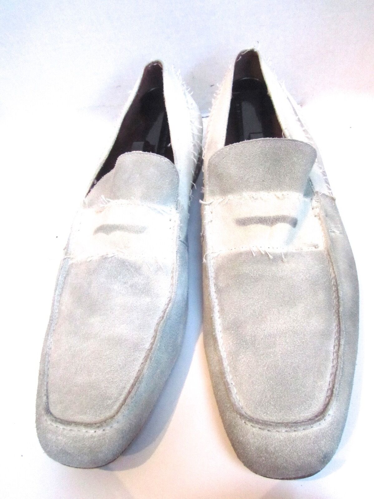 "Donald J Pliner ""Victor"" 2 Tone White Ivory Suede Leather Loafers shoes 14 EXC"