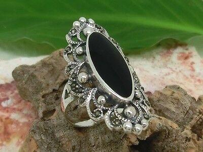 Langer Silberring mit schwarzen Stein und Markasit Silber Ring 925