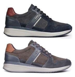 GEOX-RESPIRA-DENNIE-U820GA-scarpe-uomo-sneakers-pelle-camoscio-stringhe-casual