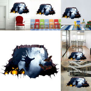 Details about Home 3D Halloween PVC Wall Stickers Ghost Scary Removable  Decals Sticker Decor