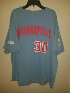 best sneakers 096cd 5ba36 Details about SGA Mens Indianapolis Indians Randy Johnson Jersey #30 T  Shirt Size XL Blue Red