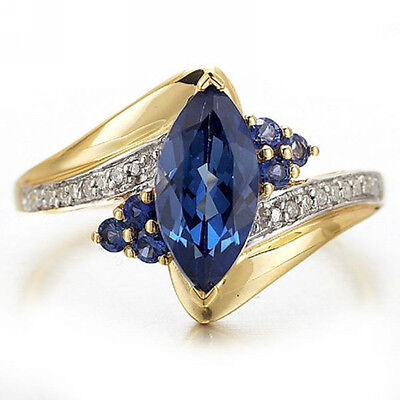 Size 6,7,8,9,10,11,12 Womens Blue Sapphire Gold Filled Engagement Wedding Rings