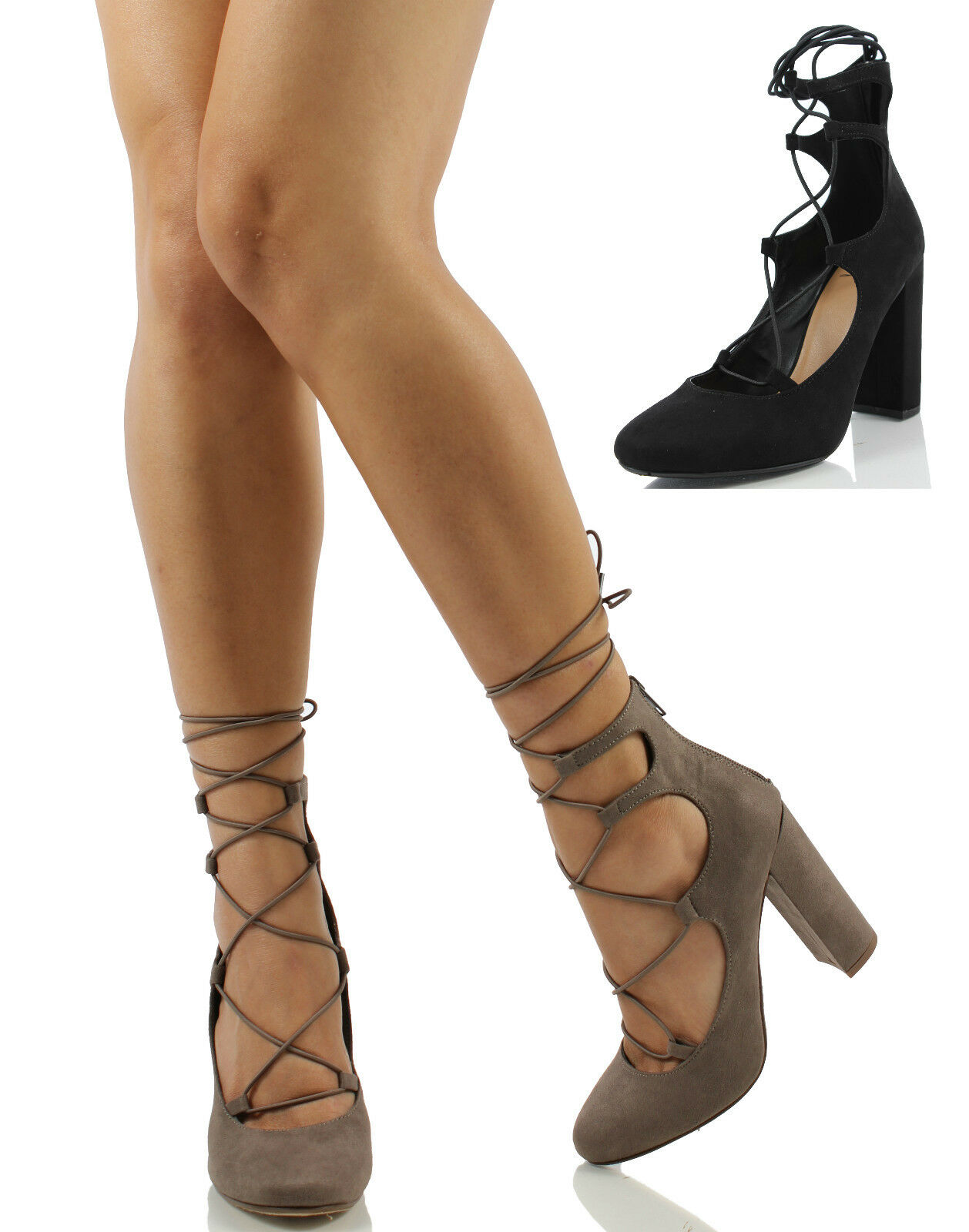 Delicious Women's Makowa Lace Up Cage Chunky Heel Dress Sandals