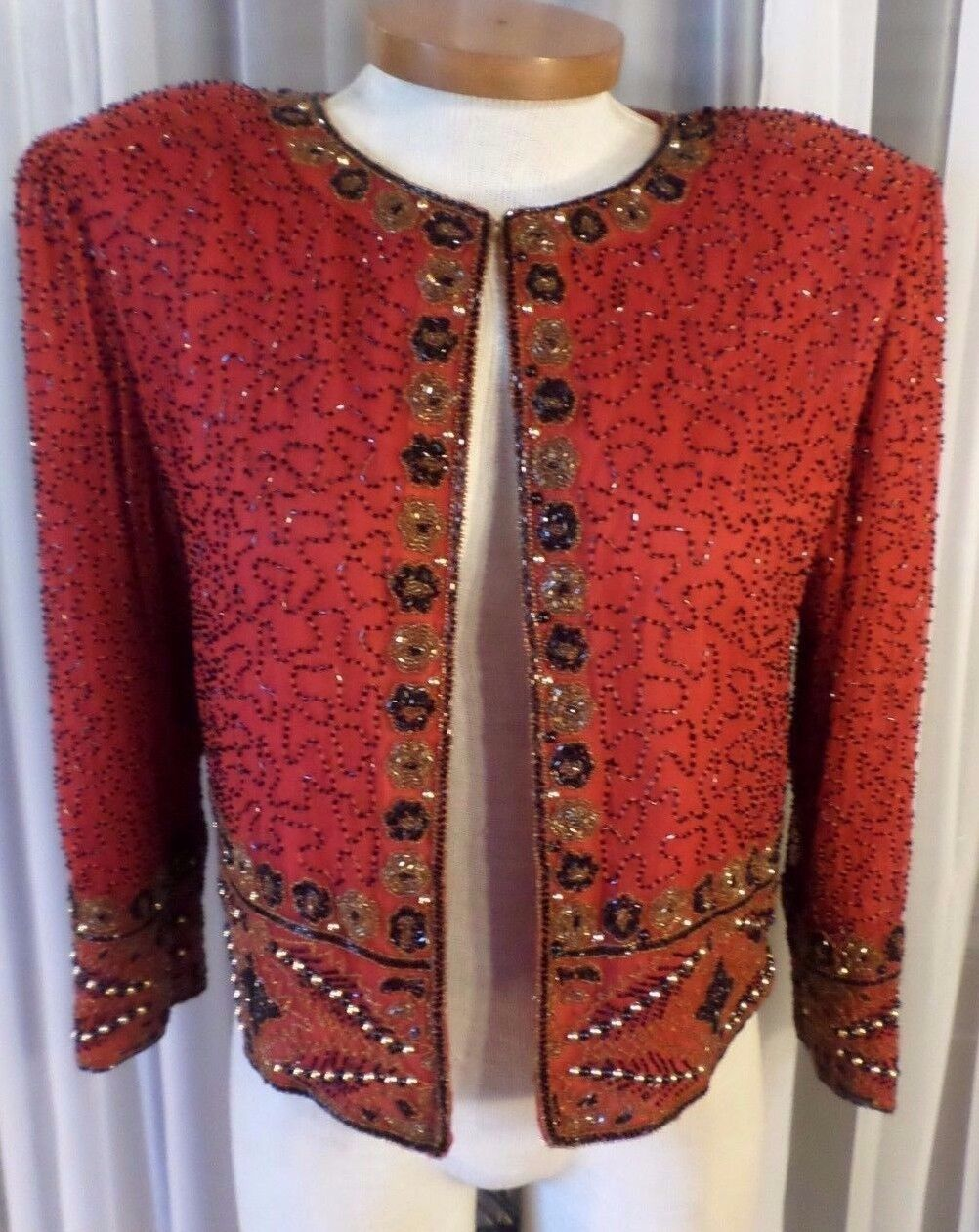 NEW schwarz rot Gold Medium Silk Beaded Sequin Lady Woman Top Jacket M 8 Lined MED