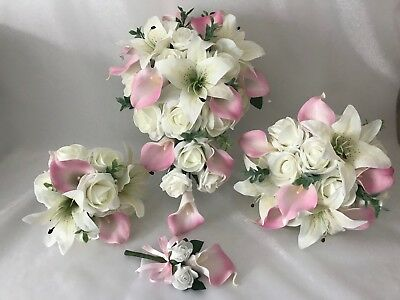 8827201cb85ced Details about Wedding Flowers Ivory Rose calla lily bouquet Bride  Bridesmaid, Flower-Girl Wand