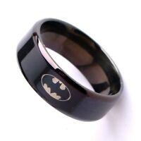 Batman Ring Fashion Titanium Boys Mens Black Batman Symbol Polished Ring G2