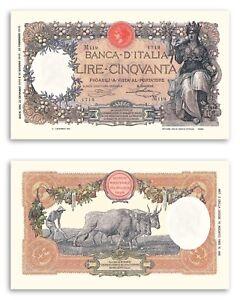 Riproduzione 50 Lire Buoi Banconota Regno D' Italia Lira Italy Banknotes Notes La4ksf3e-07232045-518163125