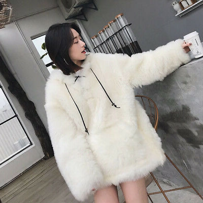 Womens Fox Fur Hooded Jacket Winter Loose Short Parka Thick Furry Coat Warm Chic
