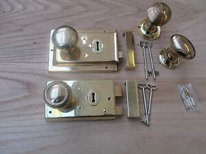 POLISHED-BRASS-Old-vintage-retro-style-door-rim-lock-knob-set