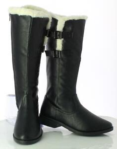 WOMEN-LADIES-FUR-LINED-WINTER-WARM-SHOES-BUCKLES-LOW-HEEL-MID-CALF-BOOT-SIZE-3-8
