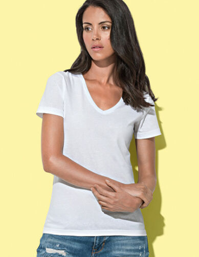 Damen Fashion T-Shirt V-Ausschnitt 100/% Baumwolle Gr.S-XL in 12 Farben S279
