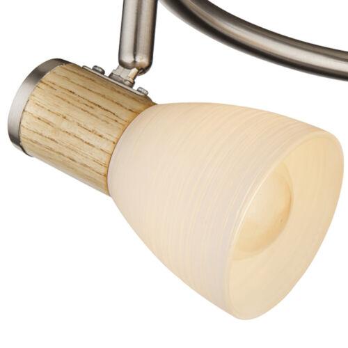 Decken Lampe HOLZ Leuchte Wohn Zimmer Glas opal Spot Strahler Rondell beweglich