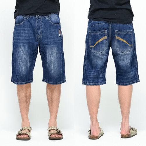 Mens Shorts Jeans Hip Hop Capri Pant Stone Washed Baggy Simple Plus Size W40-46