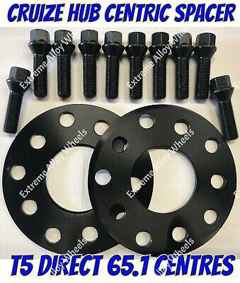 2 X 5mm centrado en Aleación Espaciador De Rueda HUB 65.1 Pernos Negro M14X1.5 VW T5 5X120