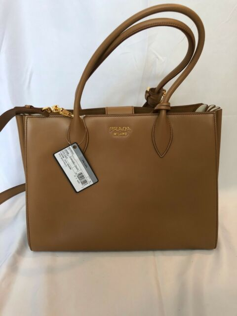 8daf28682255 Prada Bibliotheque Double Handle Large Accordian Tote Bag NEW Caramel $2590