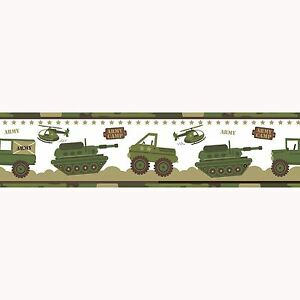 Details About Army Camp Camouflage Wallpaper Border A12804 Prh Exclusive Kids Bedroom New