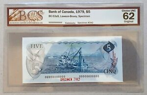 1979-Bank-of-Canada-5-034-SPECIMEN-034-Note-342-BCS-CH-UNC-62-ORIGINAL-BC-53aS