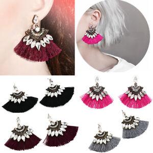 Vintage-Women-Crystal-Rhinestone-Tassel-Drop-Dangle-Ear-Stud-Earrings-Jewelry