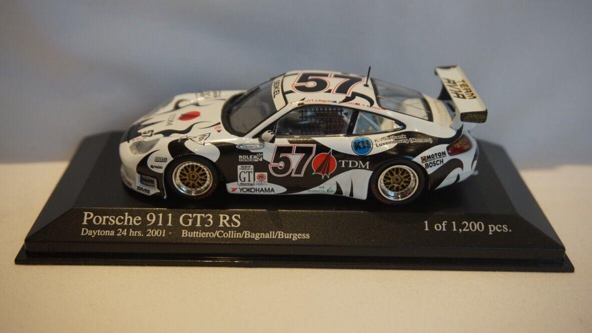 Extrêmement RARE MINICHAMPS PORSCHE 911 GT3 RS Daytona 24hrs 2001  57 1 43