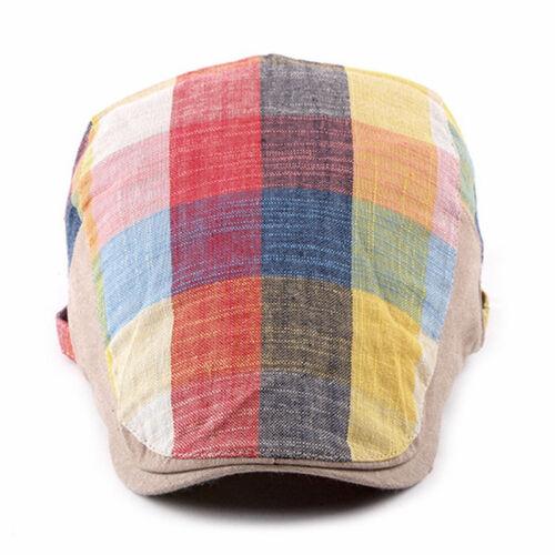 Herren Damen Bunt Kariert Schiebermütze Gatsby Fahren Flatcap Freizeit Mütze Hut