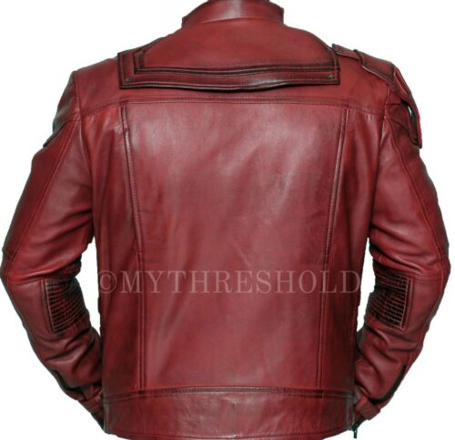 2 The Lord Maroon Jacket Pratt Chris Of Leather Real Guardians Galaxy Star 7TgwqfT6x