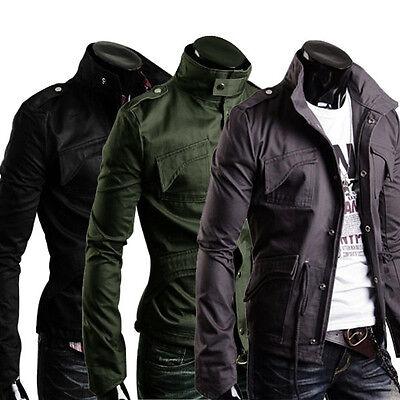 Military Style Men's Slim Fit Stand Collar Jacket Coat Zip Button Hoody Overcoat