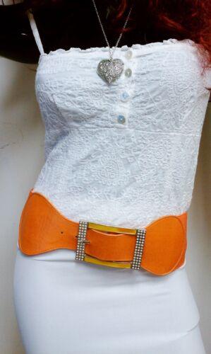 Ladies Waist Elastic Orange Wide Belt W// Rhinestones Square Buckle S M L