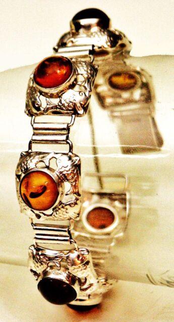 Fischland Armband 835er Silber Bernstein Amber Sailor Bracelet Kramer Fisch(P86)