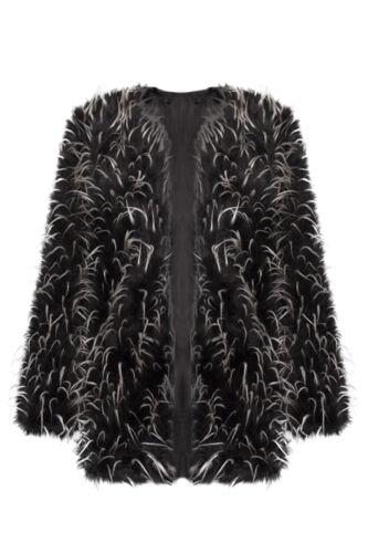 Femmes en fausse fourrure de Mongolie Clubbing long Trench veste manteau outwear 8-16
