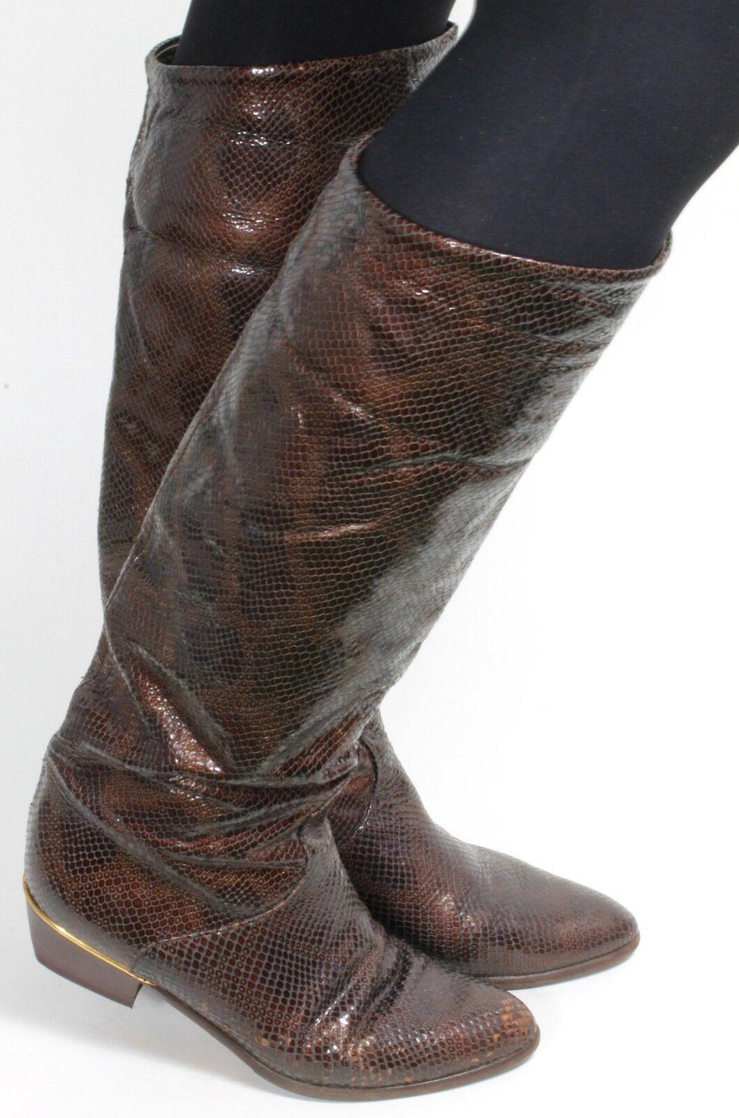 Damenstiefel Vintage Stiefel Blogger Hipster Flats Reptil Metallic Brunella 38
