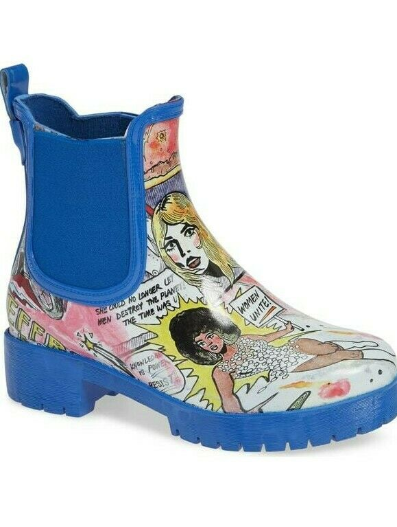 Jeffrey Campbell Womens Cloudy Chelsea Rain Boot Waterproof Cartoon Comic Size 6