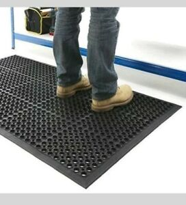 ANTI-FATIGUE HEAVY DUTY RUBBER ANTI-SLIP FLOOR WORKSHOP GREENHOUSE MAT 5FT x 3FT
