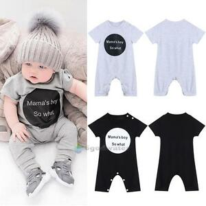 920c608a1 Newborn Baby Girl Boy Bodysuit Mama's Boy So What Romper Jumpsuit ...