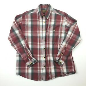 Clearwater-Outfitters-Mens-Red-amp-White-Long-Sleeve-Button-Down-Shirt-Sz-L