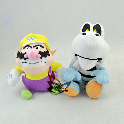 "Lot 2 Super mario bros Wario  Dry bones 9"" soft plush Toy doll-MW1993"