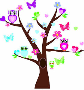 Owl-Tree-Family-Art-Decal-Removable-Vinyl-Stickers-kids-bedroom-Nursery-Decor