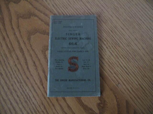 Vintage 1929 SINGER 66-6 Electric Sewing Machine Instruction Manual Booklet