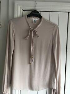"""DIANE  VON FURSTENBERG :Lovely US 0 Bust 28"""" = 8 Blush Pink Tie Neck Silk Blouse"""