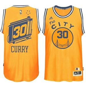 separation shoes 62462 dfaa2 Details about Golden State Warriors Stephen Curry #30 adidas NBA Swingman  The City Jersey XL