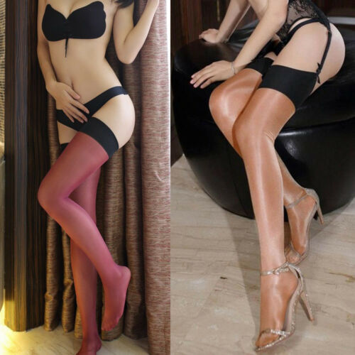 Womens Giltter Lace Top Hold Ups Stockings Thigh Highs Nylon Wide Border Hosiery