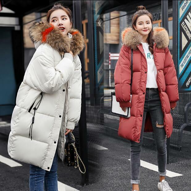 Womens Winter Fur Collar Hooded Loose Cotton Padded Coats Warm Oversize Outwear