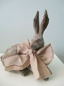 LAYING-RABBIT-with-BOW-Carved-Wood-Look-MADE-OF-RESIN