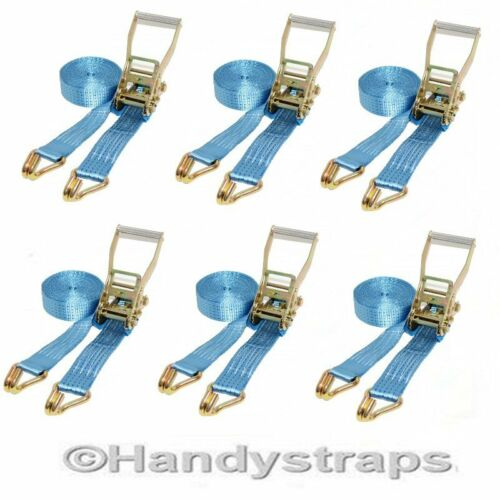 Ratchet Straps Tie Down 6 x 6 meter 50mm Blue 5 tons Claw Lashing Handy Straps