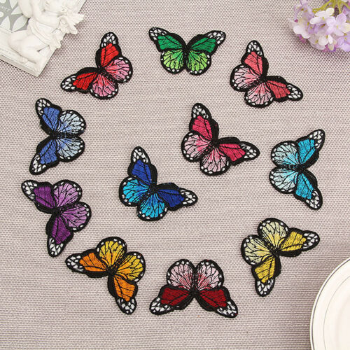 10Pcs Embroidery Butterfly Applique Embroidered Fabric Sew On Patch Badge DIY