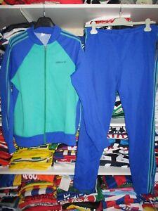 Détails sur Survêtement ADIDAS vintage pantalon fuseau bleu vert tracksuit 80's sport rare L