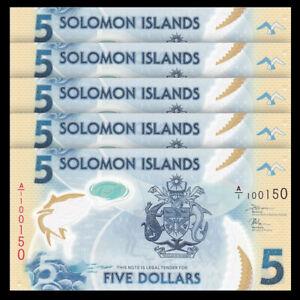Lot 5 PCS, Solomon Islands 5 Dollars, 2019, P-New, Prefix A/1, Banknotes, UNC
